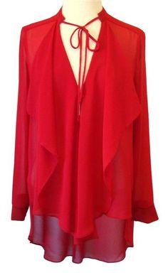 Atina Cristina Red V-Neck Long Sleeve Chiffon Top
