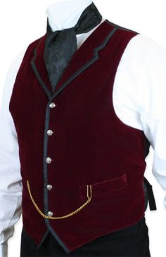 1800s Mens Burgundy Velvet Solid Notch Collar Dress Vest | 19th Century | Historical | Period Clothing | Theatrical || Bonaventure Vest - Burgundy Velvet