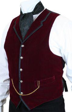 1800s Mens Burgundy Velvet Solid Notch Collar Dress Vest | 19th Century | Historical | Period Clothing | Theatrical || Bonaventure Vest - Burgundy Velvet