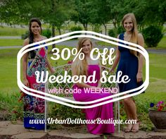 30% off dresses, leggings, pikos, CC beanies, palazzos, plus size, ...EVERYTHING at www.UrbanDollhouseBoutique.com! Ends 9/27/15. Like us on Facebook for daily sales codes: www.Facebook.com/UDBoutique