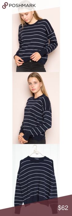 ⚡️SALE⚡️NWT brandy melville rena sweater NWT brandy melville blue & white striped rena sweater. SOLD OUT. one size. see pic #4 for details. will add own pics if requested. bought for retail+tax+shipping. trying to make my money back (or else i'll just keep it). price negotiable, bundle to save! Brandy Melville Sweaters Crew & Scoop Necks