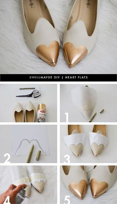 Make shoes yourself - smart DIY ideas for your summer .- Schuhe selber machen – pfiffige DIY Ideen für Ihre Sommerschuhe make your own shoes pointed flat retro design gold - Metal Fashion, Diy Fashion, Lolita Fashion, Runway Fashion, Fashion Ideas, Fashion Design, Fashion Tips, Fashion Trends, Ideas Paso A Paso