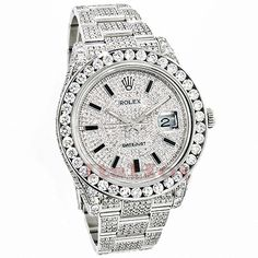 This Rolex Datejust Mens Custom Diamond Watch features carats of genuine diamonds, a Stainless Steel case and a Stainless Steel band. This Rolex Mens Diamond Watch showcases a dial paved with genuine diamonds and a date display at the 3 o'clock position. Rolex Watches For Men, Fine Watches, Luxury Watches, Men's Watches, Wrist Watches, Fashion Watches, Rolex Diamond Watch, Diamond Watches For Men, Rolex Datejust