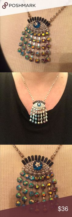 """Betsey Johnson evil eye 👁 crystal necklace Betsey Johnson fun flirty crystal evil eye necklace. I also like to call these 😇angel Eye protectors. Go for a glamorous mystique look with this unique crystal evil-eye pendant necklace exquisitely designed by Betsey Johnson in silver-tone and Gold-tone mixed metal. Lobster clasp. Approx length: 16-1/2"""" + 3"""" extender. Approx drop: 3-1/2"""" 💯 authentic in like new condition only worn a couple times. I love to wear these and then I share them💞very…"""