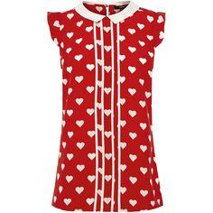 OASIS Heart Print Shell ($27) ❤ liked on Polyvore featuring tops, blouses, shirts, hearts, multi, women tops, henley shirt, peter pan collar shirt, shell shirt and heart shirt