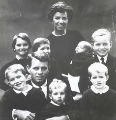 Robert and Ethel Kennedy pictured with their children Robert Jr., Kathleen, Courtney, Kerry, Joe II, David, and Michael. Circa 1959