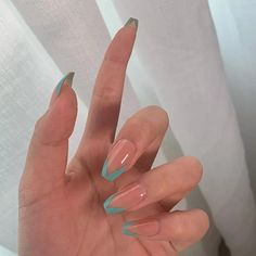 Ongles Gel French, French Tip Acrylic Nails, Acrylic Nails Coffin Short, Simple Acrylic Nails, Best Acrylic Nails, Colored French Nails, Acrylic Nails Green, Best Nails, Green Nail Art