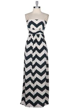 HOT NEW Black Navy Chevron ZIG ZAG Stripe Womens Strapless Maxi Pocket Dress | eBay