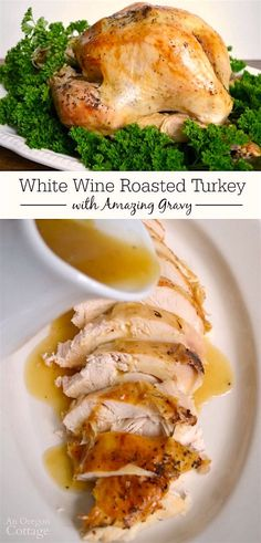 This simple recipe for roasted turkey basted with white wine makes the most amazing gravy! Try it for your next holiday and enjoy the compliments. AD Hashtag FosterFarmsFresh @FosterFarms