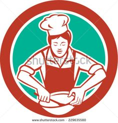Illustration of a female chef with hat holding spatula and mixing bowl mixing viewed from the front set inside circle on isolated background done in retro style. Retro Vector, Royalty Free Images, Retro Fashion, Retro Illustrations, Stock Photos, Vector Stock, Female, Retro Style, Beverage