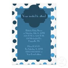 Blue polka dots boy baby shower custom invitation. Be sure to check out the matching sticker, thank you card and postage stamp.
