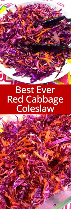 This red cabbage slaw is the best coleslaw ever! It tastes so crunchy and marinated, this red cabbage slaw is so full of flavor! Healthy and yummy!