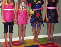Party game idea (: tell guest that they have to make a dress or some type of outfit out of certain materials. ( duct tape trash bag ribbon)