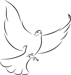Line Art Vector Illustration Of A Flying White Dove. Line Art Vector, Free Vector Art, Religious Tattoo Sleeves, All Animals Images, Animal Body Parts, Dove Bird, White Doves, Photo Illustration, Royalty Free Images