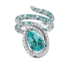 Pear Shaped Paraiba Tourmaline Snake Ring | Paolo Costagli