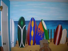 Island Getaway, Hand painted beach scene mural., This is the second half of the mural, Boys Rooms Design