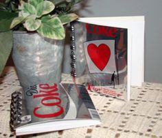 UpCycle DIY Notebooks made from Coke Cans, Candy Cartons, & Cereal Boxes. {Two Paper Divas - Free Tutorials Section} 12.01.12
