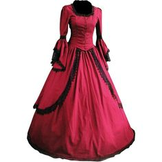 Partiss Women Lace Floor-length Gothic Victorian Lolita Dress (2.565 UYU) ❤ liked on Polyvore featuring dresses, lace dress, gothic victorian dresses, gothic lolita dress, goth dresses and red floor length dress