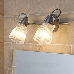 Kara bathroom wall lamp with fluted glass and LED Lamp, Bathroom Wall Sconces, Mirror With Lights, Wall Lamp Shades, Wall Lamp, Bathroom Wall Lights, Bathroom Ceiling Light, Bathroom Wall, Wall Lights