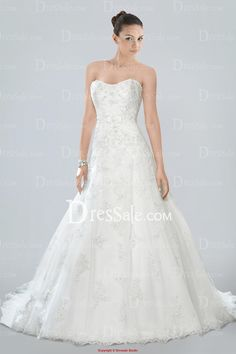 Stunning Strapless A-line Bridal Gown Featuring Beaded Lace Overlay