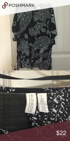 Black and white blouse size L Black and white blouse size L Madison Tops Blouses
