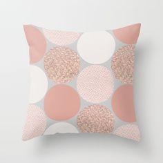 Rose Gold Dots Throw Pillow