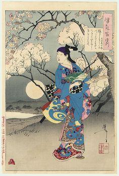 Original Yoshitoshi (1839 - 1892) Japanese Woodblock Print  Moon on the Sumida River 100 Aspects of the Moon (Tsuki hyakushi)