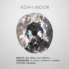 "KOH-I-NOOR DIAMOND Once Pride Of India 105.60 Carats, an oval shape gem, now part of the British Crown Jewels. The name of this diamond means ""Mountain of Light"" and its history, dating back to AD 1304, is the greatest of all famous diamonds. It was captured by the Rajahs of Malwa in the 16th century by the Mogul, Sultan Babur and remained in the possession of later Mogul emperors. It may have been set in the famous Peacock Throne built for Shah Jehan. After the break-up of the Persian…"