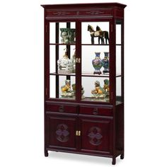 China Furniture Online Rosewood China Cabinet Longevity Motif Display Cabinet Dark Cherry Finish >>> Click image for more details.