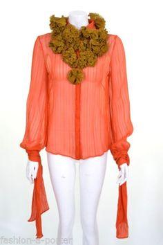 ALEXANDER-McQUEEN-PRE-F-W-2008-MUSHROOM-TRANSPARENT-ORANGE-SHRIT-38-UK-6-US-4-BN Alexander Mcqueen, Orange, Unique Fashion, Ruffle Blouse, Silk, Classic, Mushroom, Addiction, Shirts