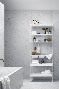 interior design - wall system- bathroom - furniture - home decor - minimalism - nordic Metal Shelves, Floating Shelves, Shelving, Bathroom Furniture, Bathroom Interior, String Regal, String Shelf, String System, Marble Tile Bathroom