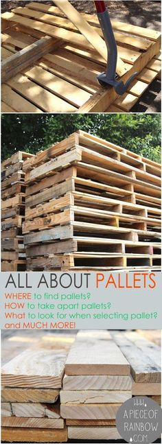 Loads of tips All About Pallets! – Where to find pallets, how to select & take a… Loads of tips All About Pallets! – Where to find pallets, how to select & take apart pallets, working with pallets, and pallet project ideas! Pallet Crafts, Pallet Art, Diy Pallet Projects, Furniture Projects, Woodworking Projects, Woodworking Plans, Pallet Wood, Woodworking Furniture, Pallet Walls