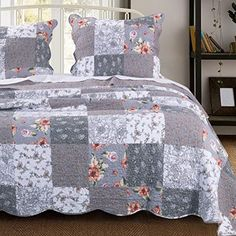 Barefoot Bungalow Giulia Reversible Oversized Cotton Quilt Set, Grey (Queen/Full - Queen/California King/Full - 3 Piece), Gray, The Gray Barn Quilted Pillow Shams, Quilted Bedspreads, Quilt Pillow, Bed Quilts, Rag Quilt, Urban Outfitters, Shabby, Twin Quilt, Queen Quilt