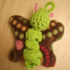 Tarkheena Crafts: Hybrid Crochet & Sewn Butterfly Toy. Quick and easy tutorial with several ideas for customization