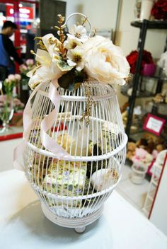 Ivory bird cage Seserahan for toiletries #wedding #gift #tradition