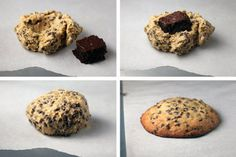 Chocolate chip cookies with a brownie hidden inside. Pillow Cookies Chocolate chip cookies with a brownie hidden inside. Pillow Cookies Recipe, Cookies Et Biscuits, Chocolate Chip Brownies, Chocolate Chip Cookie Dough, Giant Chocolate, Just Desserts, Delicious Desserts, Yummy Food, Baking Recipes