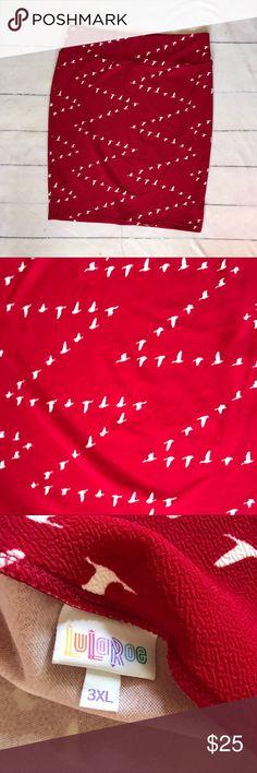 Lularoe Cassie Chevron Geese White & Red Skirt Lularoe Cassie Chevron Geese White & Red LuLaRoe Skirts Pencil
