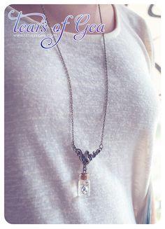 Swarovski diamond Bottle necklace. Vial necklace. by 13thPsyche