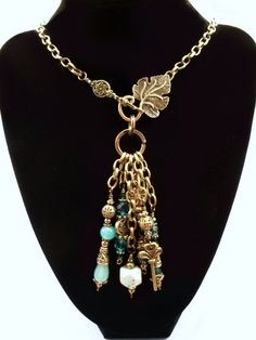 ~Sold~ Handmade Necklace OOAK Bronze and Shades of Blue by GypsyWhims, $30.00