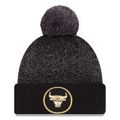 5f7ccf13091   Men s Chicago Bulls New Era Black Gray Logo Whiz 3 Cuffed Knit Hat with  Pom