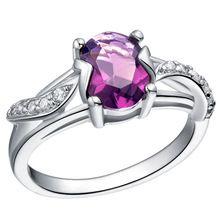 S925 plata Amethyst púrpura anillo de diamantes simulados CZ circón anillos para mujeres año nuevo Ulove 288 rojo azul púrpura disponibles(China…