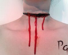 Halloween prosthetic latex slit neck cut open by prettygrimmFX