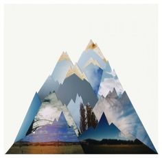 This looks to be photos of the sky and outdoors that are then cut and trimmed to simulate mountains. Neat idea! Maybe add cutouts of the family and/or pets?