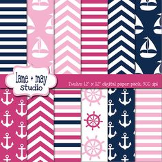 digital scrapbook papers - pink and navy blue nautical theme patterns - INSTANT… Nautical Party, Nautical Nursery, Digital Scrapbook Paper, Stencil, Printable Paper, Pattern Paper, Print Patterns, Blue Patterns, First Birthdays