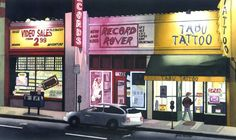 TABU TATTOO Venice Blvd. California Watercolor on French paper