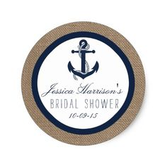 Nautical Wedding Thank You Cards Navy Blue Nautical Anchor Bridal Shower Stickers Burlap Bridal Showers, Navy Bridal Shower, Nautical Bridal Showers, Nautical Wedding, Bridal Shower Favors, Bridal Shower Invitations, Blue Bridal, Boho Wedding, Elegant Wedding