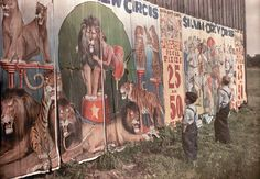 """Two Ohio boys gaze at a circus billboard in Photo by Jacob J. Gayer/National Geographic Society-Corbis, from """"The American Circus"""" History Of Photography, Color Photography, Photography Series, Antique Photos, Vintage Photos, Vintage Photographs, Antique Art, Vintage Posters, National Geographic"""