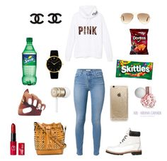 """School "" by montie-aka-monty ❤ liked on Polyvore featuring Victoria's Secret PINK, 7 For All Mankind, Timberland, MCM, Ray-Ban, Rifle Paper Co, Beats by Dr. Dre and Larsson & Jennings"