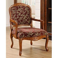 @Overstock - Curved Arm Merlot Floral Chair. Solid wood accent chair makes a great addition to any home decor    Chair features an upholstered seat and back    Living room furniture has an oversized seating area for extra comforthttp://www.overstock.com/Home-Garden/Curved-Arm-Merlot-Floral-Chair/3867480/product.html?CID=214117 $149.99