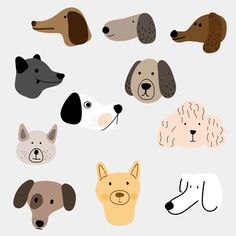 adorable animal breed bulldog bundle cartoon character collection colorful cute dachshund design dog doggy domestic flat funny graphic group illustration isolated line outline pet pug puppy set simple sitting style various vector Illustration Vector, Simple Illustration, Pattern Illustration, Character Illustration, Graphic Design Illustration, Illustration Animals, Cartoon Illustrations, Illustration Styles, Dapple Dachshund
